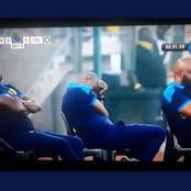 See Coach Rhulani Mokoena caught sleeping during a match against Celtic