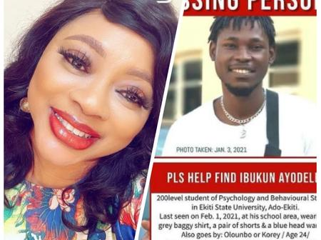 Check Out The 200 Level Student Of Ekiti State University That Was Said To Be Missing By Actress Ayo Adesanya