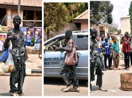 Check out how this student in Anambra state celebrated his rag day on the road (Photos)