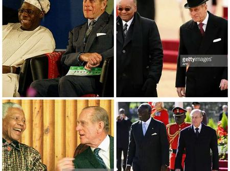 Throwback Photos Of Queen Elizabeth's Late Husband With Obasanjo, Zuma And Other African Presidents