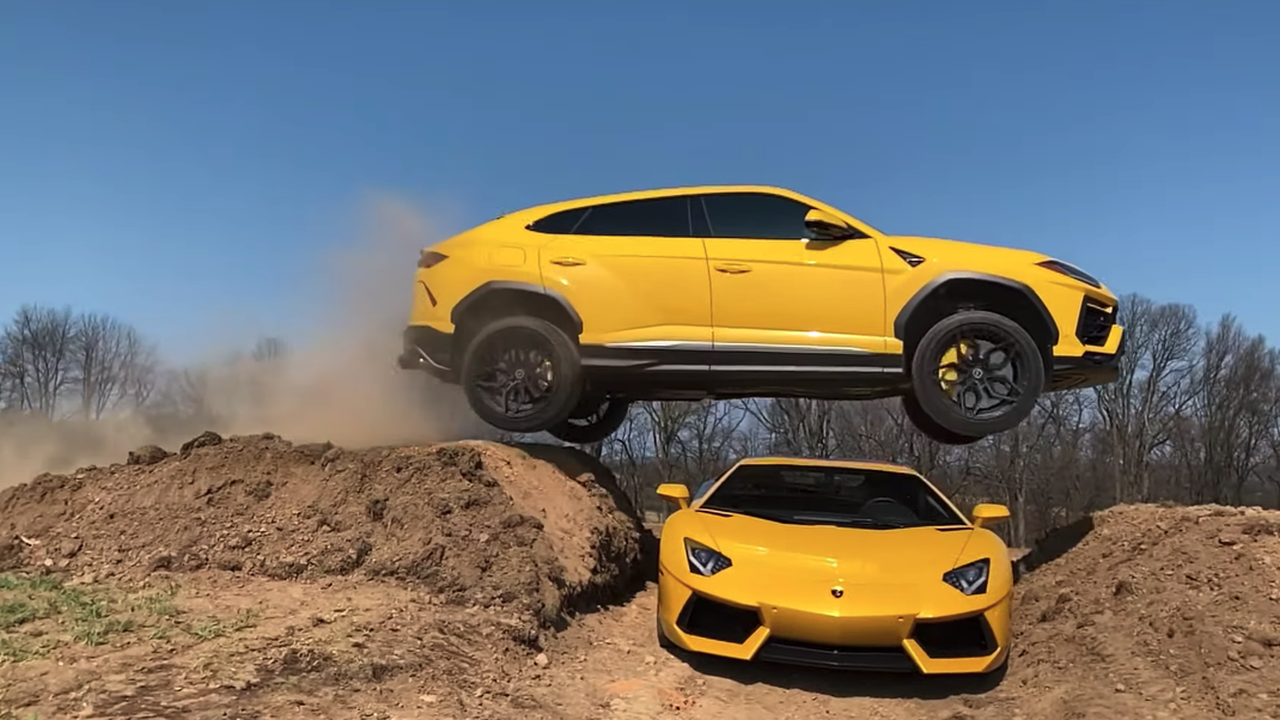 YouTuber Who Destroyed Ram TRX Tempts Fate, Jumps Lamborghini Urus Over Aventador