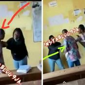 Video: Nigerian Student Drags Her Lecturer By His Cloth For Giving Her Malpractice Form To Fill