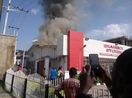 Fire Outbreak at Late Gov. Abiola Ajimobi's Wife Supermarket in Ibadan.