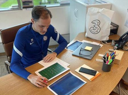 Despite The International Break Thomas Tuchel Was Pictured in His Office Working On Football Tactics