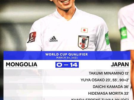 14 - 0, Japan Demolish Mongolia in their world cup qualifying match