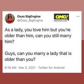 Can You Marry a Lady Older than You? This is What People Had to Say