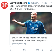 EPL:- Frank Names 'Leader' In Chelsea Squad After 1-0 Win Over Liverpool