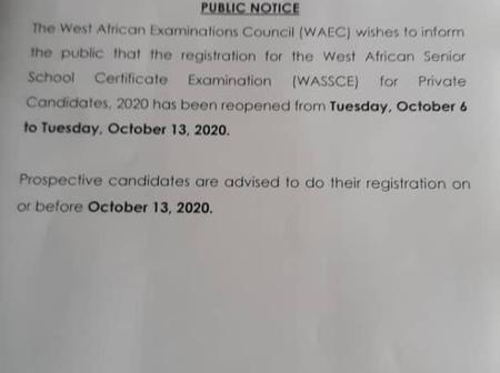 WAEC Extends Registration Date of WASSCE for Private Candidates (GCE).