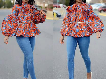 Dear Ladies, See These Adorable And Beautiful Ankara Blouse Styles That You Can Rock With Trouser