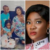 Mercy Johnson Shares Photos Drinking Ijebu Garri And Smoked Turkey With Her Kids