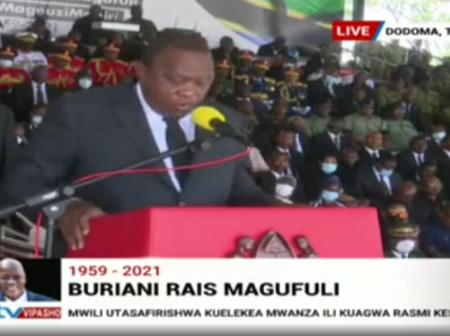 President Uhuru Kenyatta Hailed For Pausing His Speech During Magufuli's Memorial To Observe This