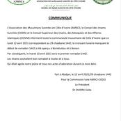 La lune aperçue à Bonon et Bondoukou ce lundi 12 avril 2021 : voici la décision du COSIM