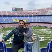 Check Out How Lionel Messi's Son Has Grown After He Was Spotted With His Dad At Camp Nou