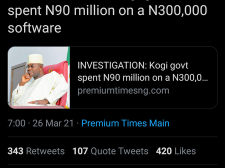 Kogi State government spent N90 million on a N300,000 software -Premium Times Nigeria