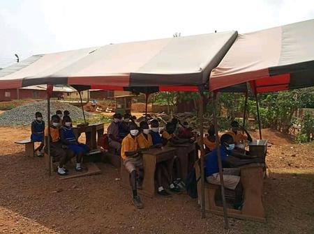 Sad News-As Students Sit Under Canopies To Learn In The Eastern Region.