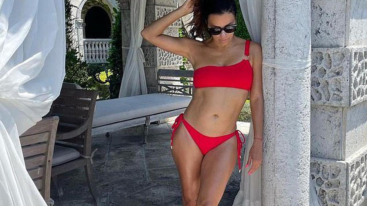 Eva Longoria poses in red bikini as a nod to her Desperate Housewives character