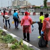 Nigerian Youths Are The Best They Came With Brooms & Waste Bags To The End SARS Protest: Photos