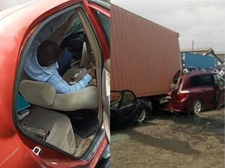 Man Miraculously Survives After Loaded Container Fell Ontop Of His Car While He Was Inside (Video)