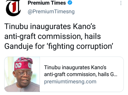 Many Nigerians react as Tinubu hails Kano State Governor for fighting Corruption