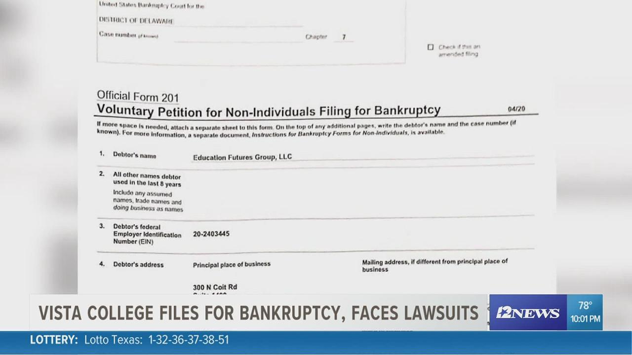 Vista College files for bankruptcy, faces lawsuit less than 1 week after shutdown