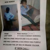 Missing Child, A 9 Years Old Girl Child Goes Missing