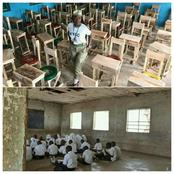 Can You Do This?  NYSC Corper Provides 50 Desks And Seats For Students Who Sit On Floor