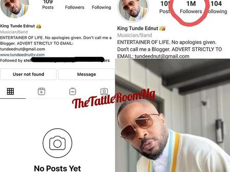 See fans' reactions after Tunde Ednut new IG got deleted again shortly after hitting 1m followers