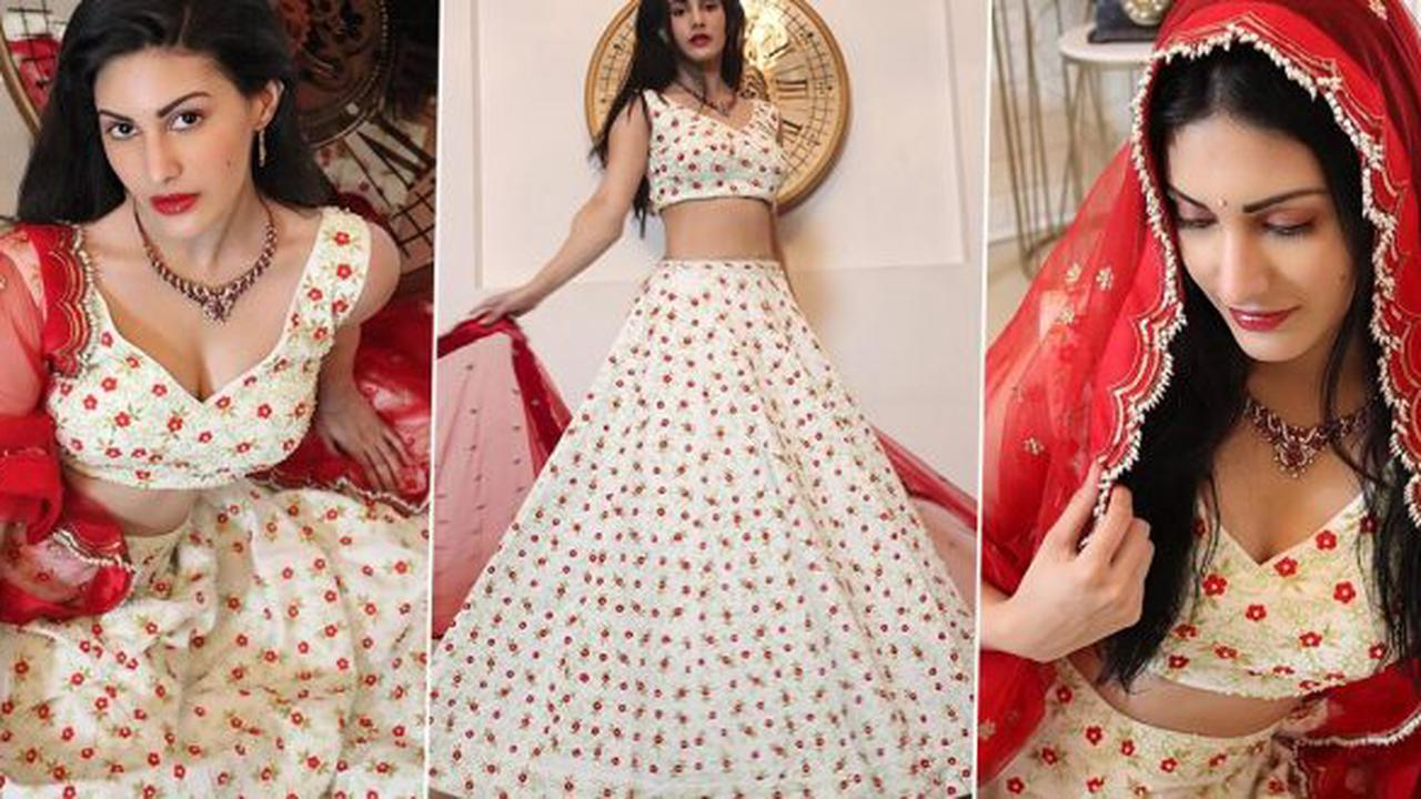 Amyra Dastur Is Straight Out of a Bollywood Scene Flaunting a Red and White Lehenga!