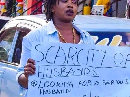 Husband Scarcity: With Placard A Lady Have Taken Up Initiative In Search For A Husband