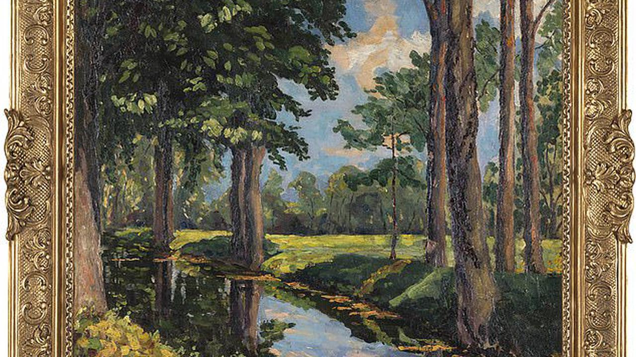 Lost oil painting by Sir Winston Churchill of wooded glen in Norfolk sells for more than £1.3million at auction