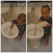 New Generation Children! See What This 2 Year Old Girl Was Caught Doing In The Toilet (Video)