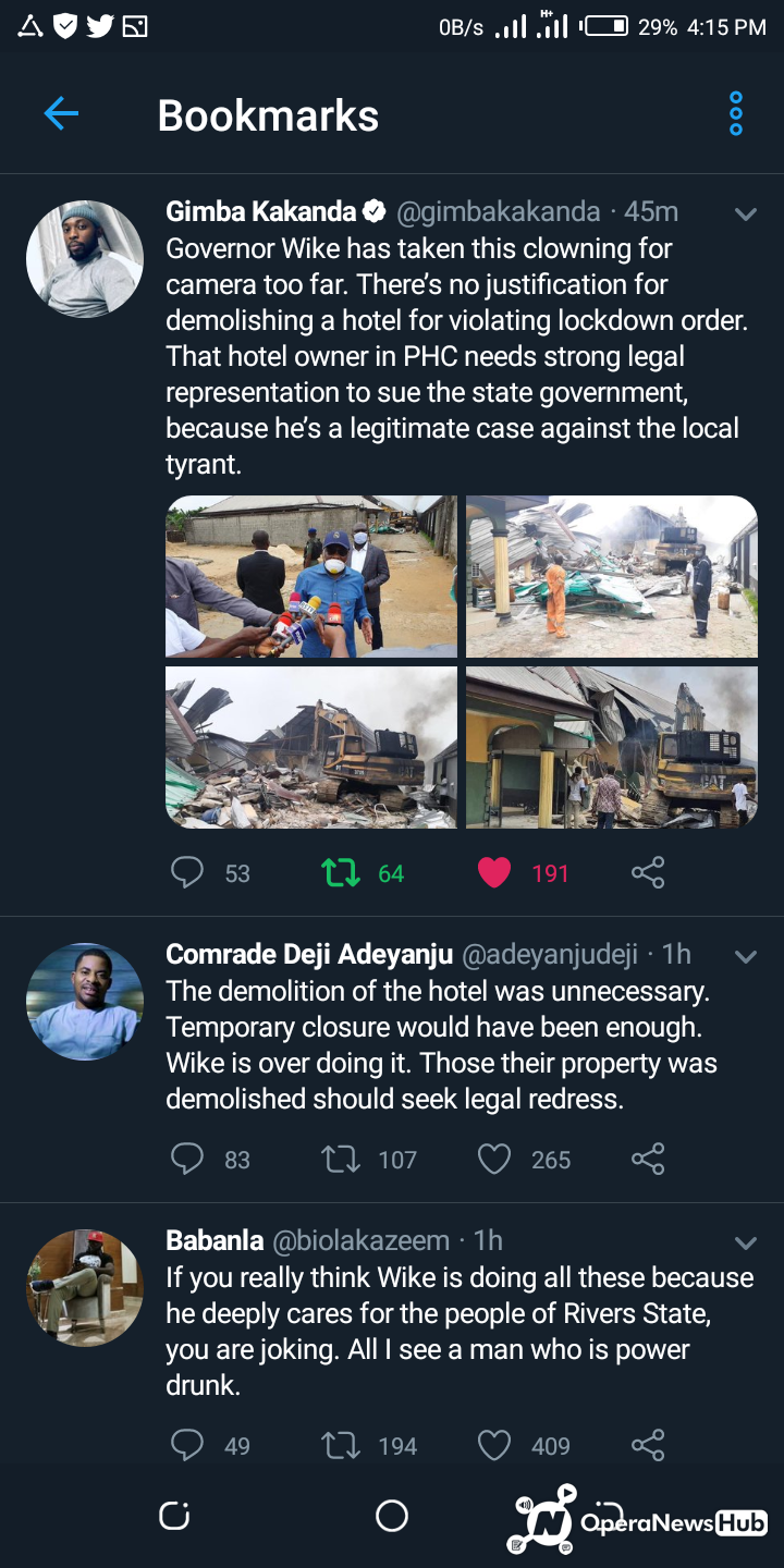 Nigerians react as Wike Supervises the hotel demolition