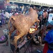 """Now they have Provoked Buhari"" - Protesters seen Roasting a Cow on the Road in Ijebu ode. Photos"
