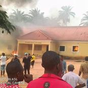 Youths burn Imo police station over killing of two siblings (Photos)