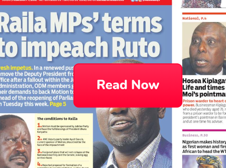 Raila's MPs Give Conditions To Impeach Ruto, BBI's Green And Orange Zones In Today's Newspapers.