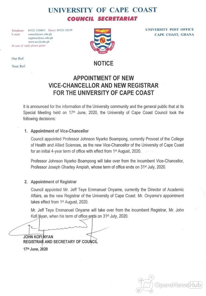 JUST IN: University of Cape Coast appoints new VC, Registrar 1