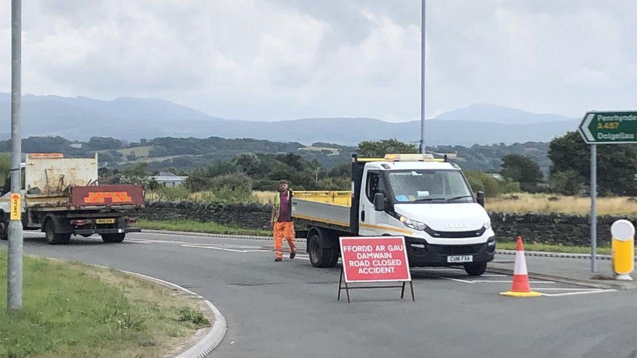 A487 Porthmadog crash: Van driver airlifted to hospital