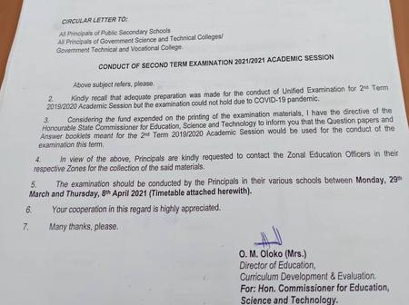 Checkout This Important Circular From Education Ministry About The Conduct Of 2nd Term Examinations