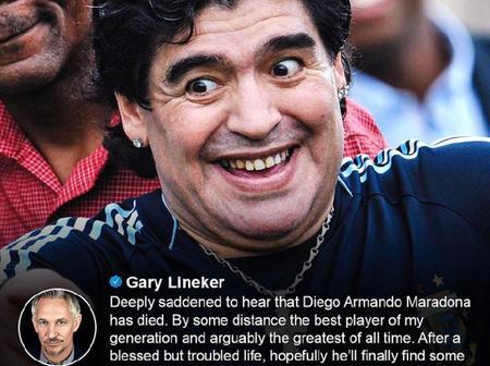 Messi, Pele, Cristiano Ronaldo, Beckham, Xavi & 14 Others Send Emotional Tribute To Diego Maradonna