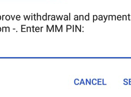 Do not enter your mobile money PIN Code if you see this on your phone